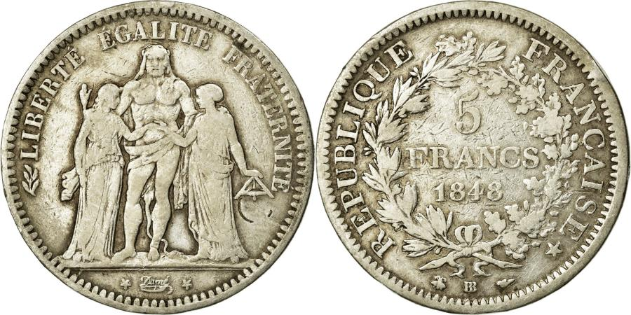 World Coins - Coin, France, Hercule, 5 Francs, 1848, Strasbourg, VF(30-35), Silver, KM:756.2