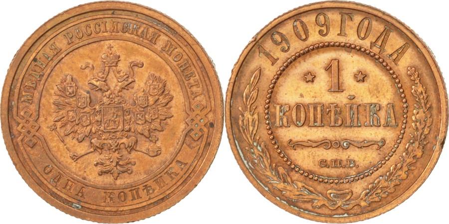 World Coins - RUSSIA, Kopek, 1909, Saint-Petersburg, KM #9.2, , Copper, 21.6, 3.25