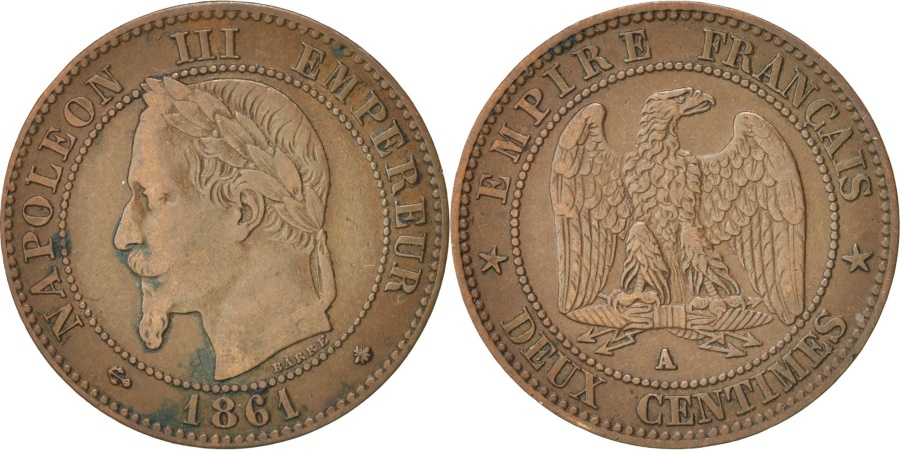 World Coins - France, Napoleon III, 2 Centimes, 1861, Paris, , Bronze, KM 796.4