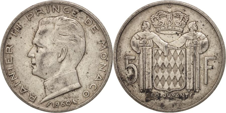 World Coins - Monaco, Rainier III, 5 Francs, 1960, Paris, , Silver, KM:141