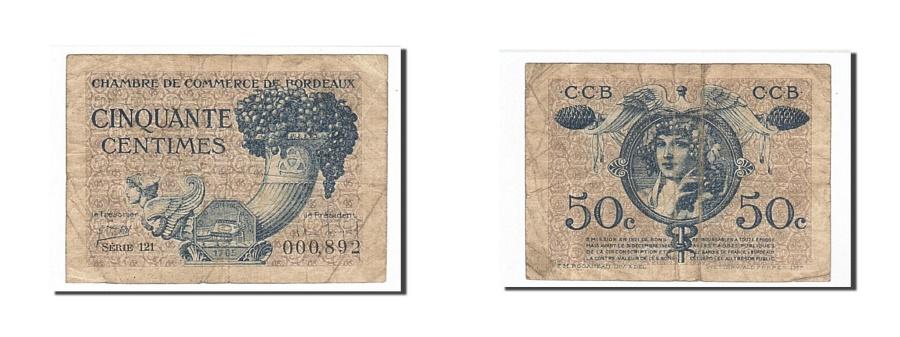 World Coins - France, Bordeaux, 50 Centimes, 1921, VF(20-25), Pirot:30-28