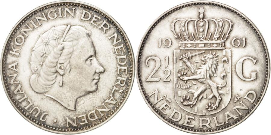 World Coins - NETHERLANDS, 2-1/2 Gulden, 1961, KM #185, , Silver, 33, 15.01