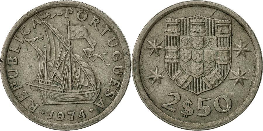 World Coins - Portugal, 2-1/2 Escudos, 1974, , Copper-nickel, KM:590