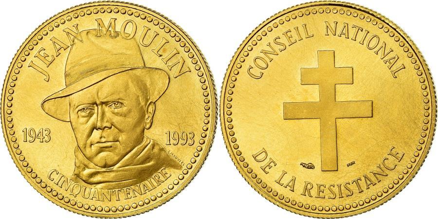 World Coins - France, Medal, Conseil de la Résistance, Jean Moulin, History, 1993,