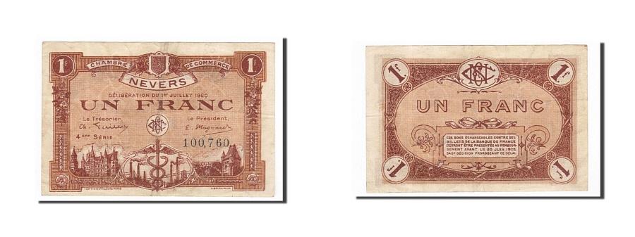 World Coins - France, Nevers, 1 Franc, 1920, EF(40-45), Pirot:90-19