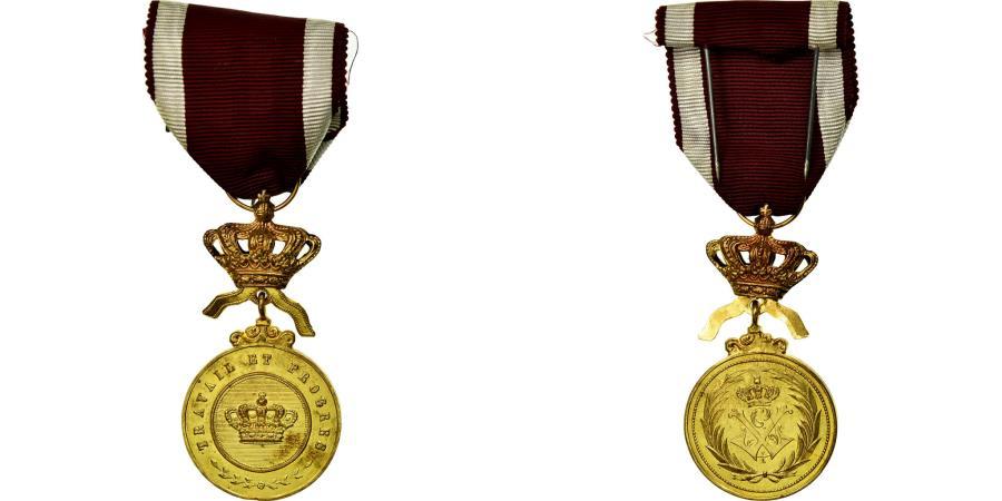 World Coins - Belgium, Ordre de la Couronne, Travail et Progrès, Medal, Uncirculated, Gilt
