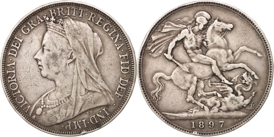 World Coins - Great Britain, Victoria, Crown, 1897-LXI, , Silver, KM:783