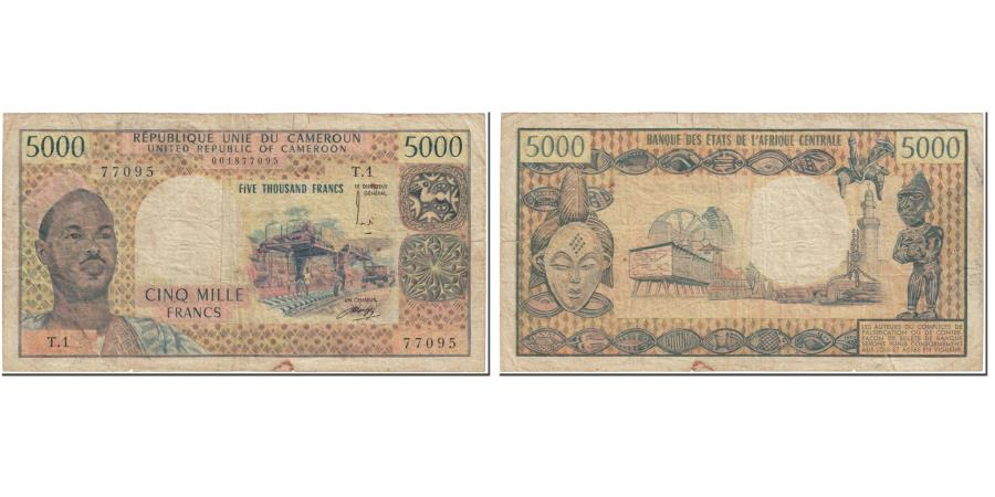 World Coins - Banknote, Cameroon, 5000 Francs, 1974, Undated (1974), KM:17b, VG(8-10)