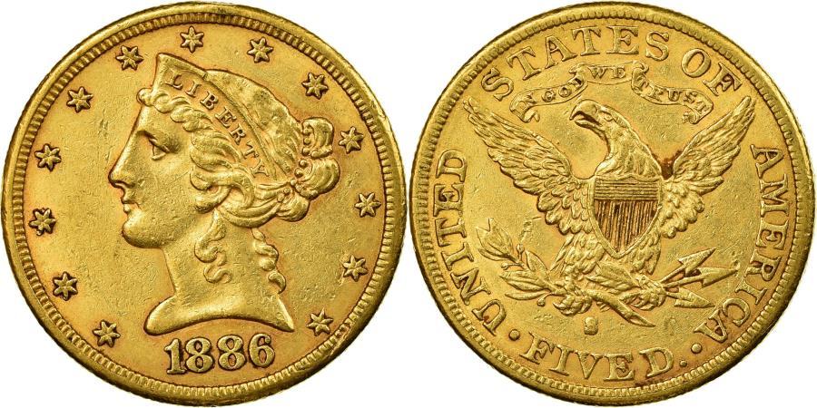 US Coins - Coin, United States, Coronet Head, $5, Half Eagle, 1886, San Francisco,