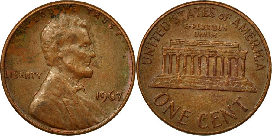 US Coins - Coin, United States, Lincoln Cent, Cent, 1967, U.S. Mint, Philadelphia