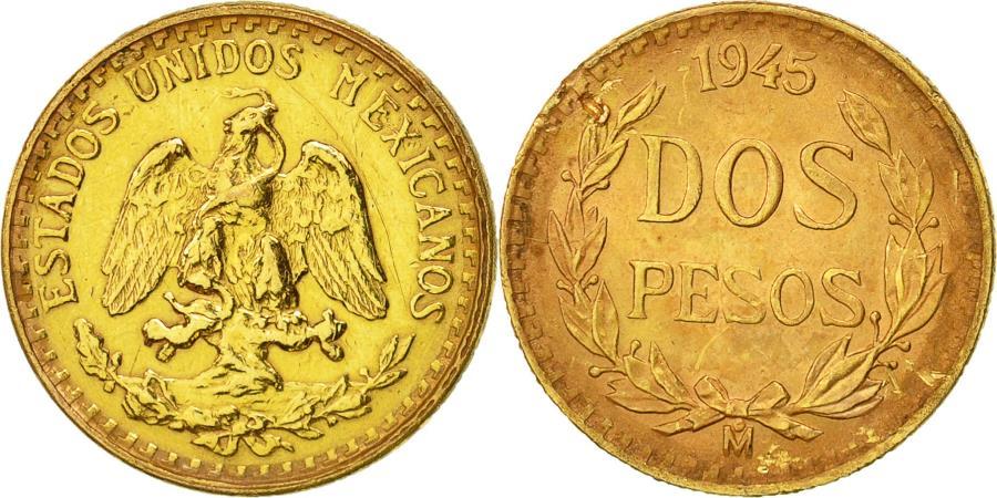 Coin, Mexico, 2 Pesos, 1945, Mexico City, , Gold, KM:461