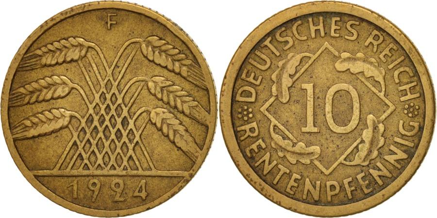 World Coins - GERMANY, WEIMAR REPUBLIC, 10 Reichspfennig, 1924, Stuttgart, , KM 40