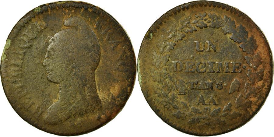 World Coins - Coin, France, Dupré, Decime, AN 8, Metz, , Bronze, KM:644.2