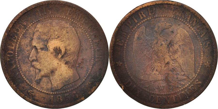World Coins - France, 10 Centimes, 1856, Lille, , Bronze, KM:771.7, Gadoury:248
