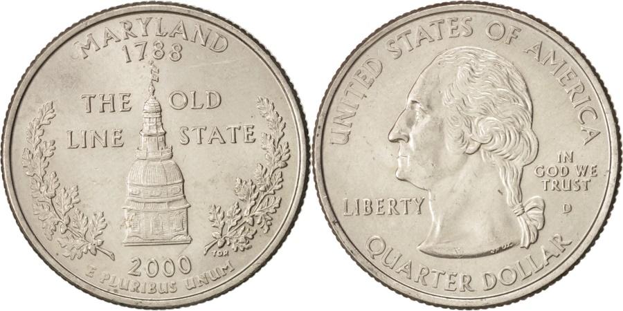 US Coins - United States, State Quarter, 2000, Denver, Maryland, KM:306