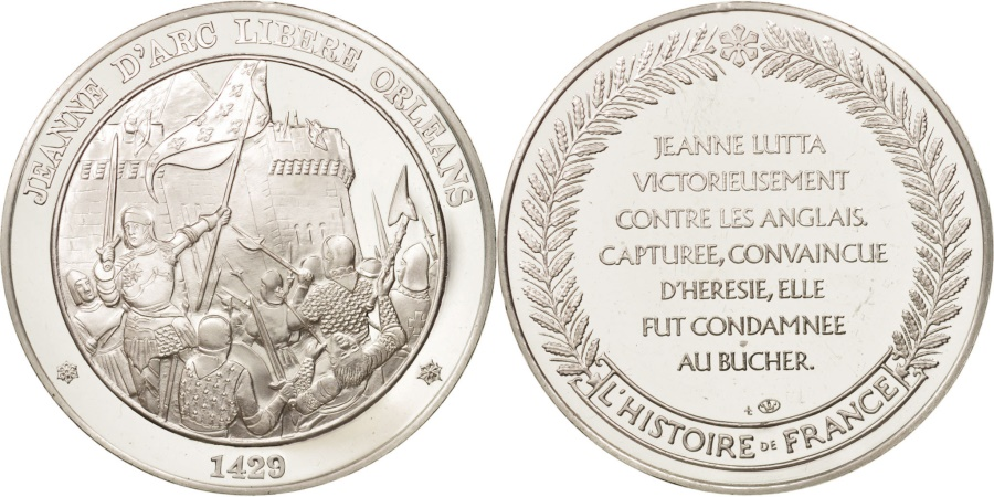 World Coins - France, Medal, L'Histoire de France, Jeanne d'Arc, History,