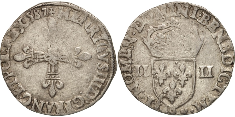 World Coins - France, Henri III, 1/4 Ecu, 1587, Rennes, , Silver, Sombart:4662