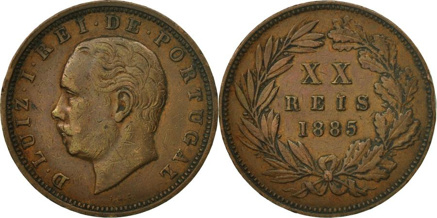 World Coins - Coin, Portugal, Luiz I, 20 Reis, 1885, AU(50-53), Bronze, KM:527