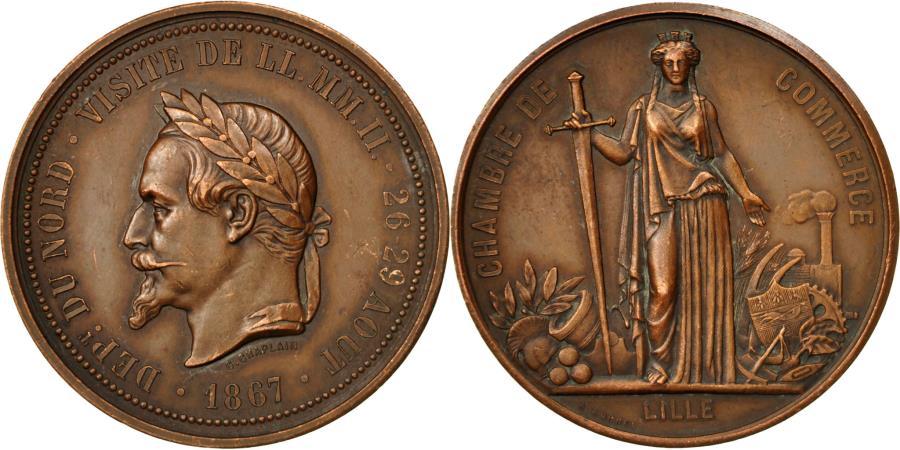 France medal visite de napoleon iii la chambre de for Chambre de commerce de lille