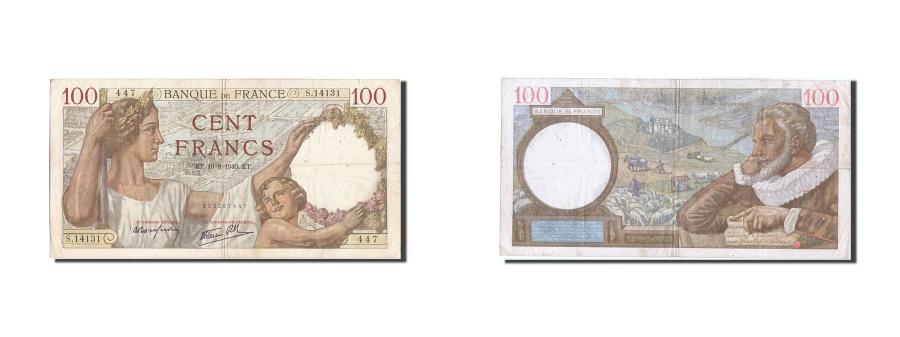 World Coins - France, 100 Francs, 100 F 1939-1942 ''Sully'', 1940, KM #94, 1940-08-16,...