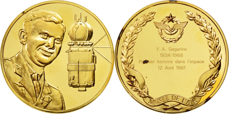 World Coins - FRANCE, Aviation, French Fifth Republic, Medal, , Vermeil, 44, 39.60