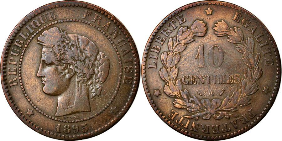 World Coins - Coin, France, Cérès, 10 Centimes, 1895, Paris, VF(20-25), Bronze, KM:815.1