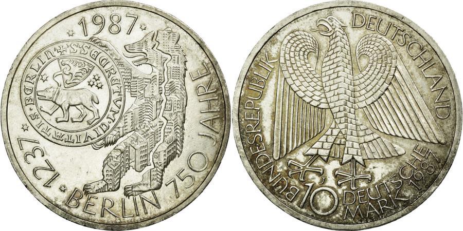 World Coins - Coin, GERMANY - FEDERAL REPUBLIC, 10 Mark, 1987, Hamburg, Germany, MS(60-62)