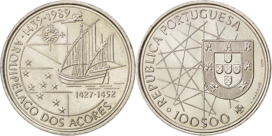 World Coins - PORTUGAL, 100 Escudos, 1989, KM #648, , Copper-Nickel, 34, 17.02