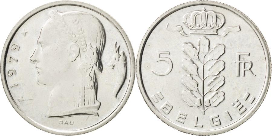 World Coins - BELGIUM, 5 Francs, 5 Frank, 1979, KM #135.1, , Copper-Nickel, 24, 6.02