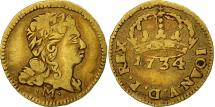 World Coins - Coin, Brazil, Joao V, 400 Reis, 1734, Minas Gerais, VF(30-35), Gold, KM:145