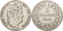 France, Louis-Philippe, 5 Francs, 1834, Paris, VF(30-35), Silver, KM:749.1