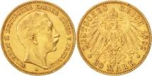 German States, PRUSSIA, Wilhelm II, 20 Mark, 1892, Berlin, EF(40-45), Gold