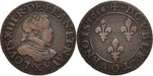 World Coins - France, Louis XIII, Double tournois, buste laurée et cuirassé, 1614, Amiens,Gad7