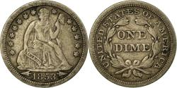 Us Coins - Coin, United States, Seated Liberty Dime, Dime, 1853, U.S. Mint, Philadelphia
