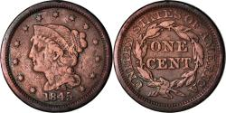 Us Coins - Coin, United States, Braided Hair Cent, Cent, 1845, U.S. Mint, Philadelphia