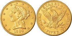Us Coins - Coin, United States, Coronet Head, $5, Half Eagle, 1903, U.S. Mint