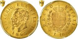 Ancient Coins - Coin, Italy, Vittorio Emanuele II, 10 Lire, 1863, Torino, PCGS, MS63, Gold