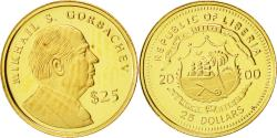 World Coins - Liberia, 25 Dollars, Gorbatchev, 2000, American Mint, MS(65-70), Gold, KM:630