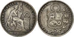 World Coins - Coin, Peru, Sol, 1872, Lima, EF(40-45), Silver, KM 196.3