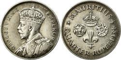 World Coins - Coin, Mauritius, George V, 1/4 Rupee, 1934, , Silver, KM:15