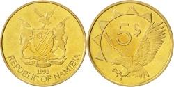 World Coins - NAMIBIA, 5 Dollars, 1993, KM #5, , Brass, 24.9, 6.17