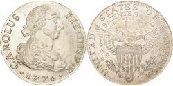 World Coins - Spain, Medal, Fantaisie, Charles III, 8 Réaux, surfrappé sur Dollar US, 1776