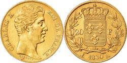 World Coins - Coin, France, Charles X, 20 Francs, 1830, Paris, Tranche striée,