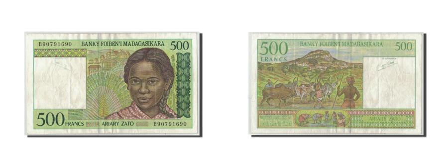 World Coins - Madagascar, 500 Francs = 100 Ariary, KM:75a, VF(20-25)