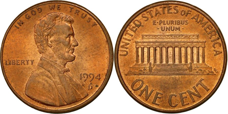 US Coins - Coin, United States, Lincoln Cent, Cent, 1994, U.S. Mint, Denver,