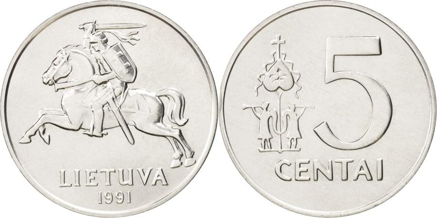 World Coins - Lithuania, 5 Centai, 1991, , Aluminum, KM:87