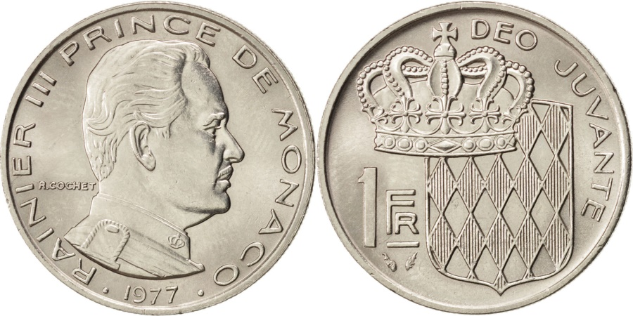 World Coins - MONACO, Franc, 1977, KM #140, , Nickel, 24, Gadoury #150, 6.05