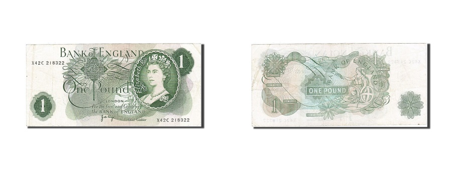 World Coins - Great Britain, 1 Pound, 1960-1964, KM:374g, 1970-1977, EF(40-45)