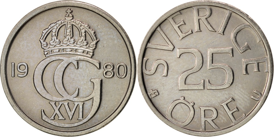World Coins - Sweden, Carl XVI Gustaf, 25 Öre, 1980, , Copper-nickel, KM:851
