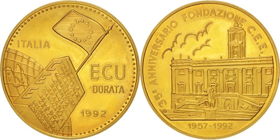 World Coins - Italy, European coinage test, 1 ecu, Politics, Society, War, Medal, 1992